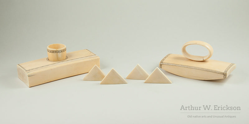 Eskimo Carved Walrus Ivory Desk Set