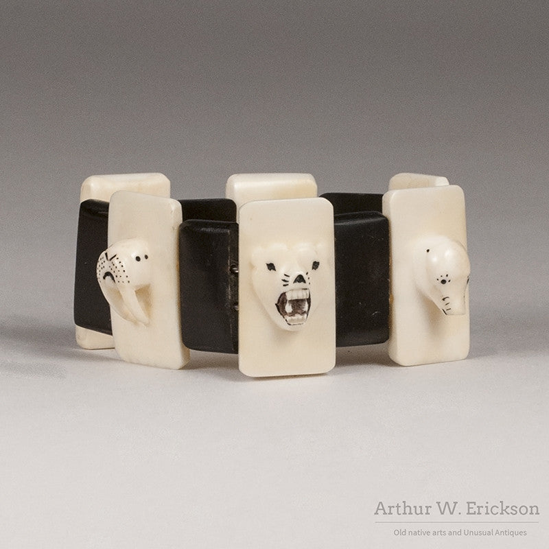 Eskimo Ivory Carved and Scrimshawed Bracelet - Arthur W. Erickson - 1