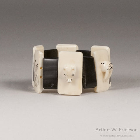 Eskimo Ivory Carved and Scrimshawed Bracelet - Arthur W. Erickson - 5
