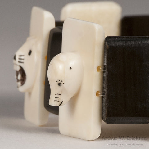 Eskimo Ivory Carved and Scrimshawed Bracelet - Arthur W. Erickson - 9