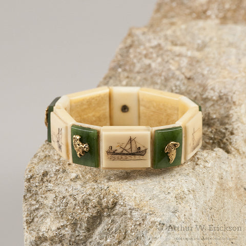 Eskimo Walrus Ivory Bracelet with Gold Nuggets, Jade, and Scrimshaw