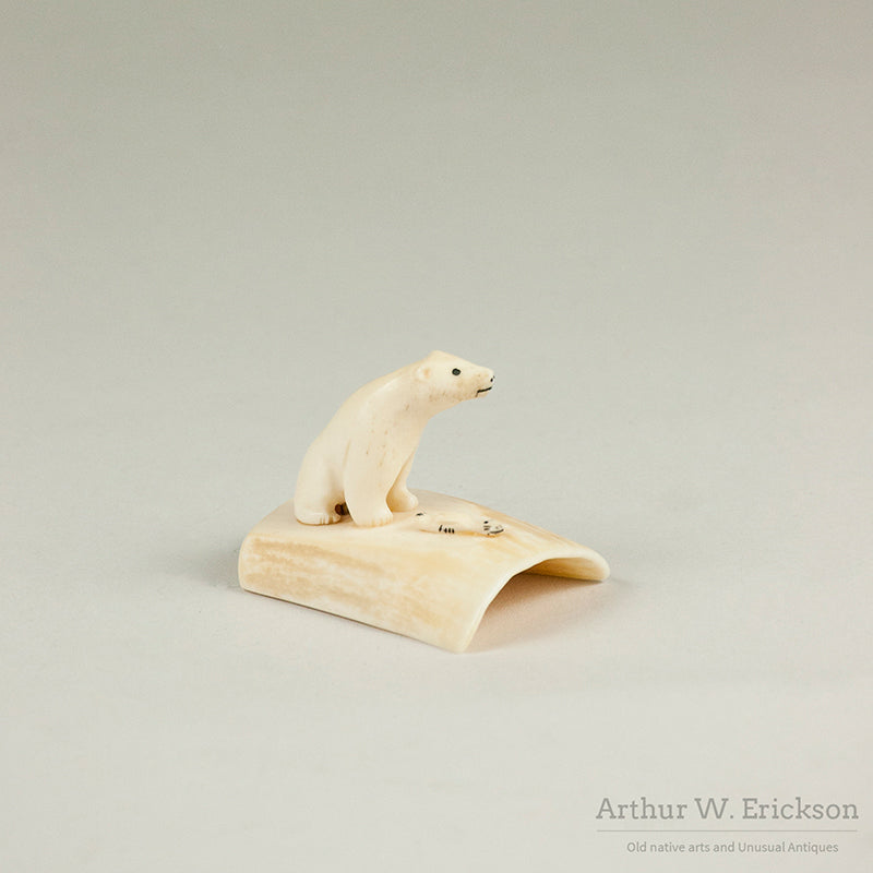 Eskimo Walrus Ivory Carving of Polar Bear and Seal on Walrus Ivory Base