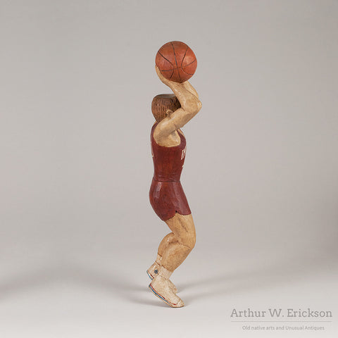 Folk Art Carved Basketball Player - Arthur W. Erickson - 3