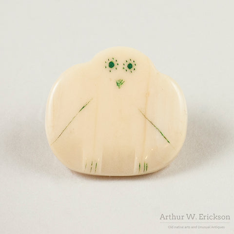 Four Eskimo Carved Walrus Ivory Owl Buttons
