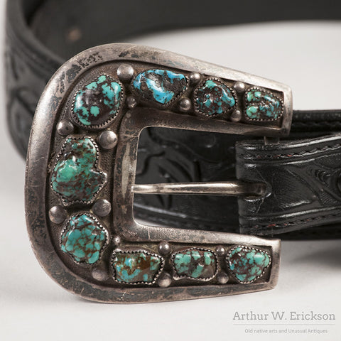 Frank Patania Sr. Sterling Silver and Turquoise Belt Buckle - Arthur W. Erickson - 5