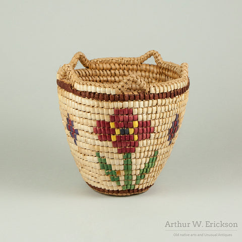 Fully Imbricated Klickitat Basket By Elsie Kuniakai with Flower Motif