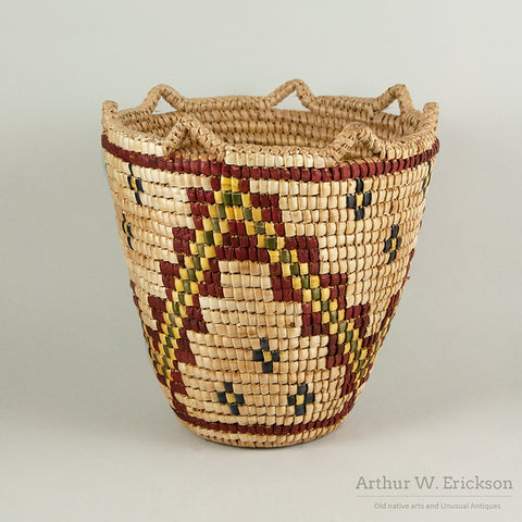 Fully Imbricated Polychrome Klickitat Huckleberry Basket