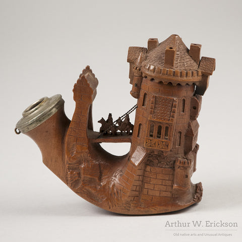 German Wood Carved Castle Pipe - Arthur W. Erickson - 1