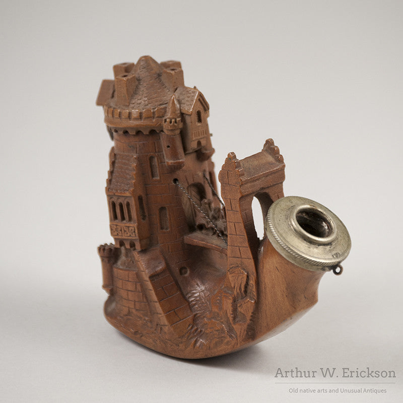 German wood carved castle pipe u arthur w erickson