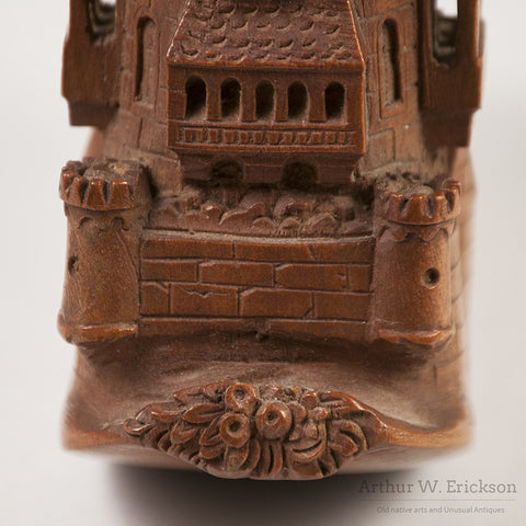 German Wood Carved Castle Pipe - Arthur W. Erickson - 17