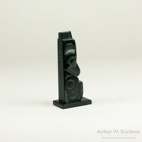 Small Haida Argillite Pole By Denny Dixon