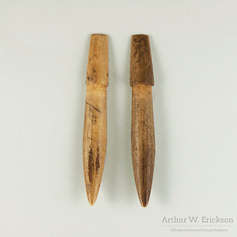 Two Halves of a Makah Composite Whale Harpoon