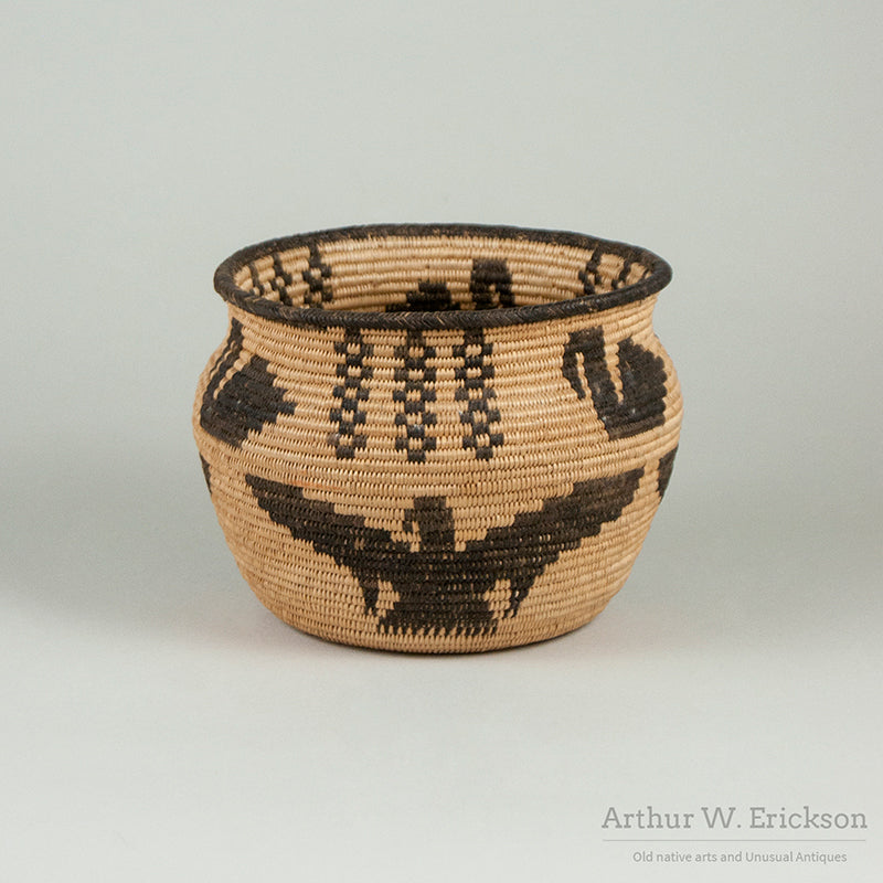 Havasupai Figured Coiled Jar Shaped Basket