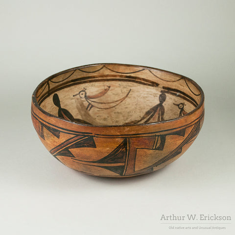 Large Hopi Polacca Bowl with Bird Design