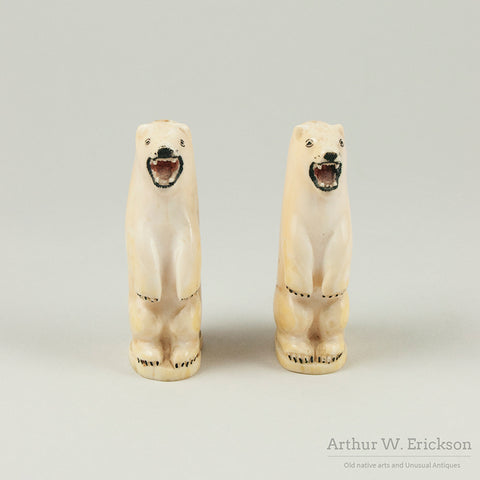 Large Eskimo Carved Polar Bear Salt and Pepper Shakers