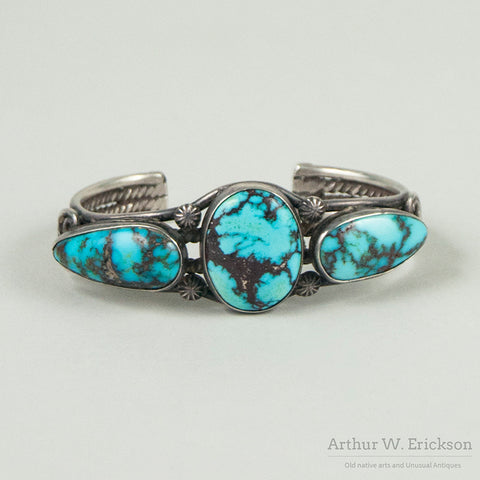 Large Navajo Turquoise and Silver Cuff