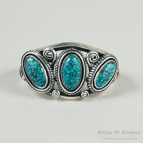 Large Turquoise and Sterling Silver Cuff Bracelet