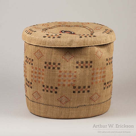 Large Aleut Lidded Basket