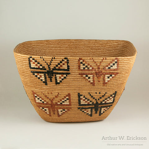 Large Canadian Salish Basket with Butterfly Design