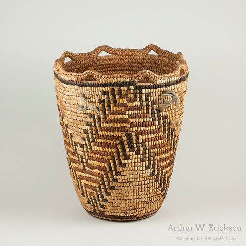 Large Fully Imbricated Klickitat Berry Basket with unfinished tumpline
