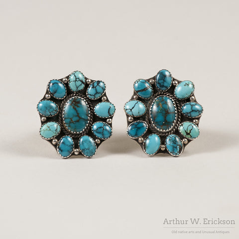 Large Turquoise Cluster Earrings - Arthur W. Erickson - 2