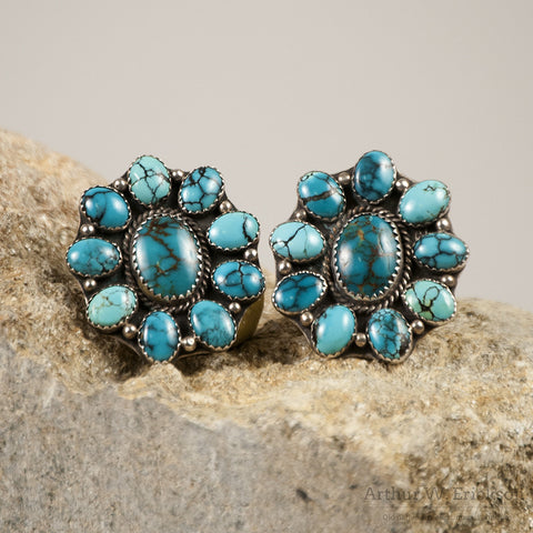 Large Turquoise Cluster Earrings - Arthur W. Erickson - 1