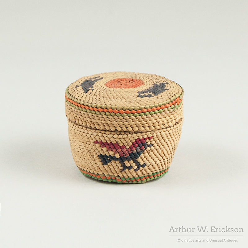 Makah Basket with Whales and Bird