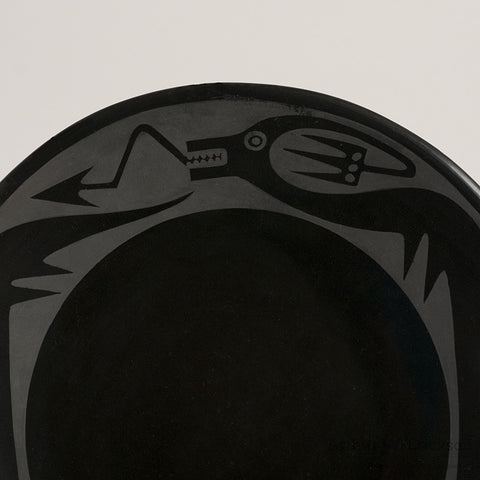 Maria / Popovi Black-on-Black Plate with Avanyu design