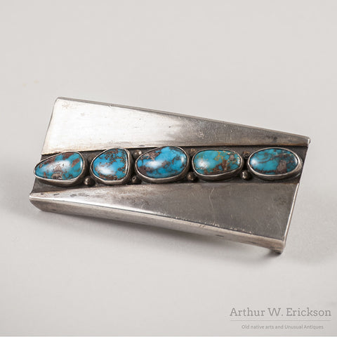Mark Chee Turquoise and Silver Belt Buckle - Arthur W. Erickson - 2