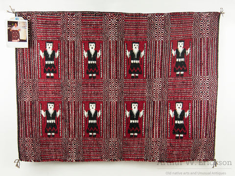 Double Face Navajo Yei Rug by Lucy Wilson
