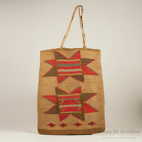 Nez Perce Corn Husk Bag with Two Eight Point Stars