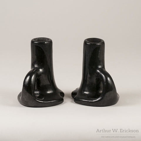 Rose Gonzales Blackware Candle Stick Holders