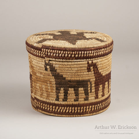 Papago Figural Lidded Basket with Horses and Turtle - Arthur W. Erickson - 1
