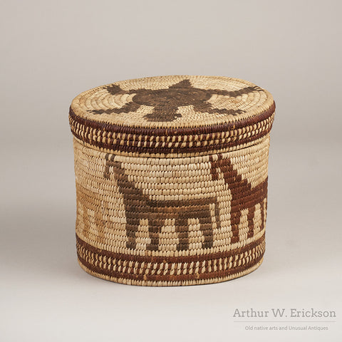 Papago Figural Lidded Basket with Horses and Turtle - Arthur W. Erickson - 3