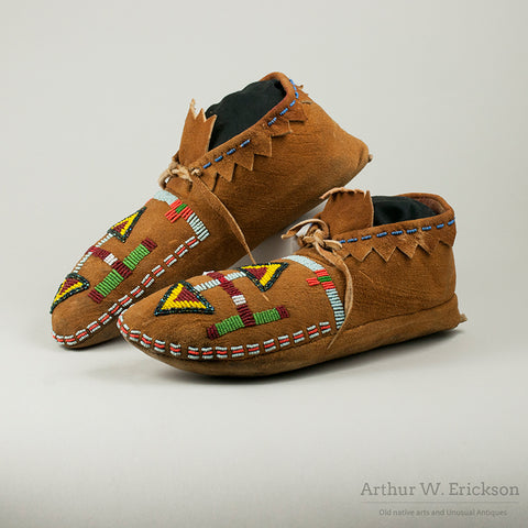 Plateau 1930's Partially Beaded Moccasins
