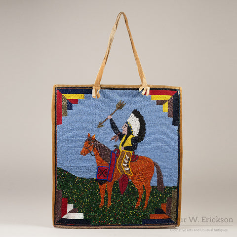 Plateau Beaded Bag with Warrior on Horseback
