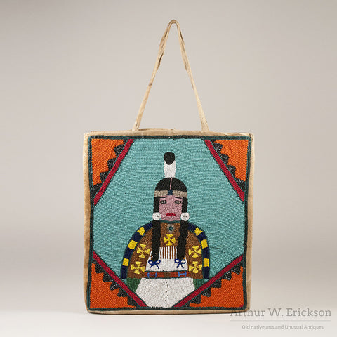 Plateau Beaded Bag with Indian Maiden