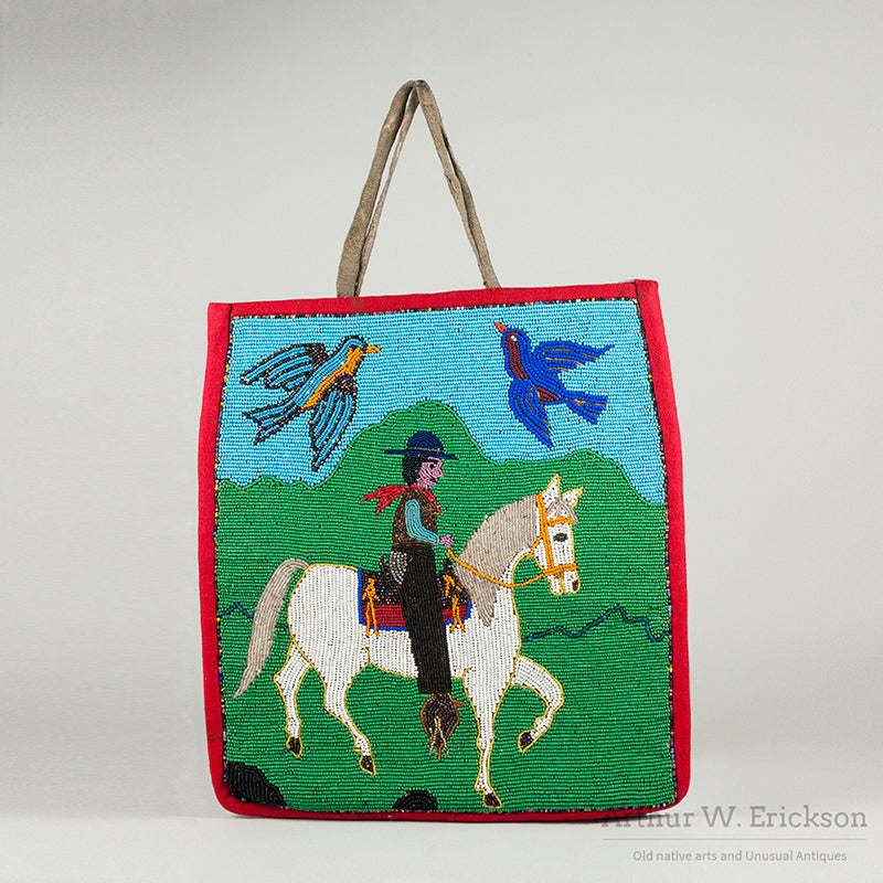 Plateau Beaded Bag with Cowboy on Horseback
