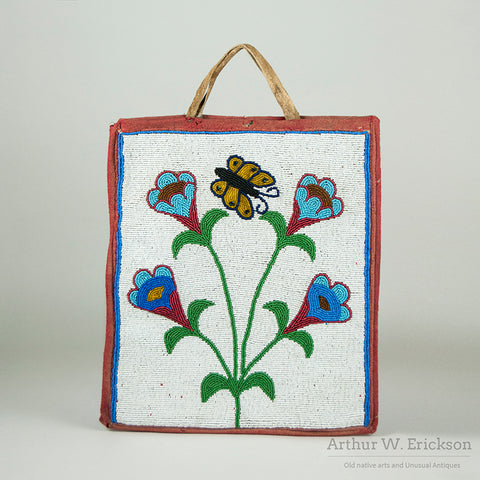 Old Plateau Beaded Bag with Butterfly