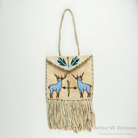 Plateau Partially Beaded Bag with Two Elk and a Teepee