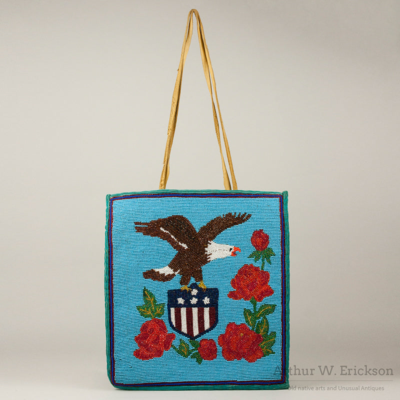 Plateau Patriotic Beaded Bag with Eagle and Shield