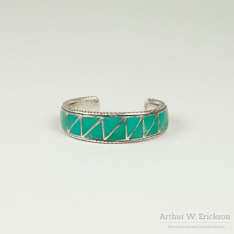Ralph Tawangyaouma Turquoise and Sterling Silver Inlay Cuff Bracelet