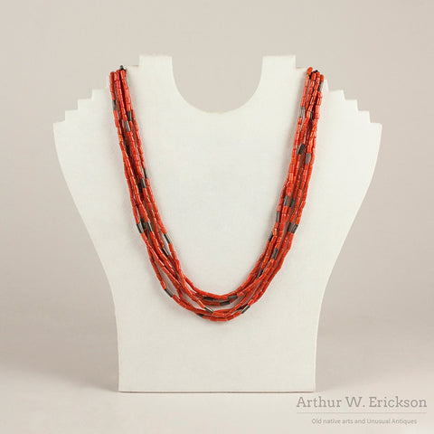 Santo Domingo Coral and Silver Bead Necklace