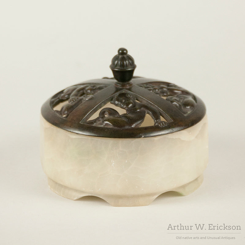 Art Deco Satyr Alabaster and Bronze Bowl
