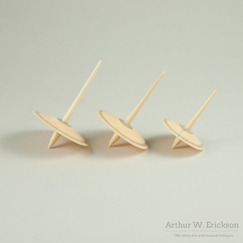 Set of Three Eskimo Ivory Spinning Tops