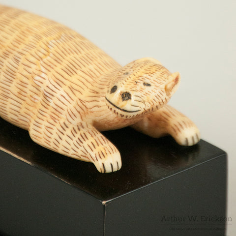 Eskimo Carved Walrus Ivory Bear