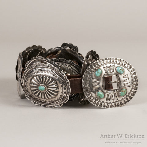Silver and Turquoise Concho Belt - Arthur W. Erickson - 1