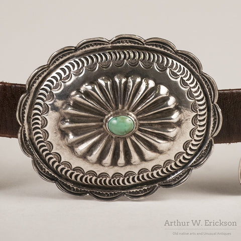Silver and Turquoise Concho Belt - Arthur W. Erickson - 4