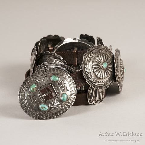 Silver and Turquoise Concho Belt - Arthur W. Erickson - 6