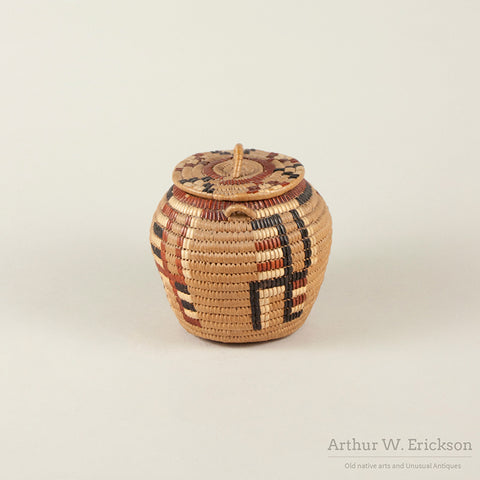 Small Canadian Salish Lidded Basket